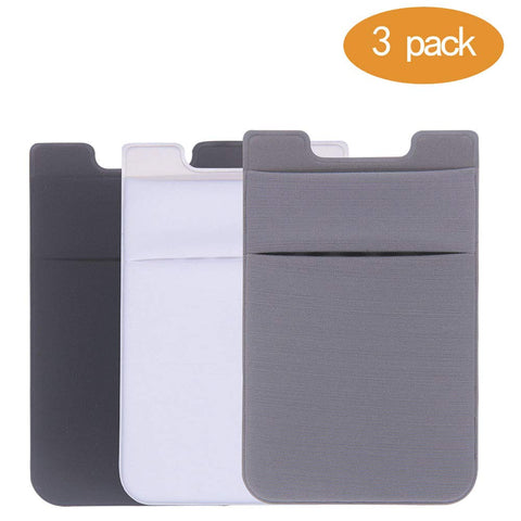 Card Holder for Back of Phone, Stretchy Lycra Double Slots Stick On Wallet Pocket for iPhone, Android and All Smartphones (3 pcs) (Black/White/Gray)