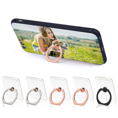 Phone Ring Cell Phone Ring Holder 360 Degree Rotation Phone Ring Holder Transparent Finger Ring Stand Kickstand Compatible Most of Smartphones Set of 5