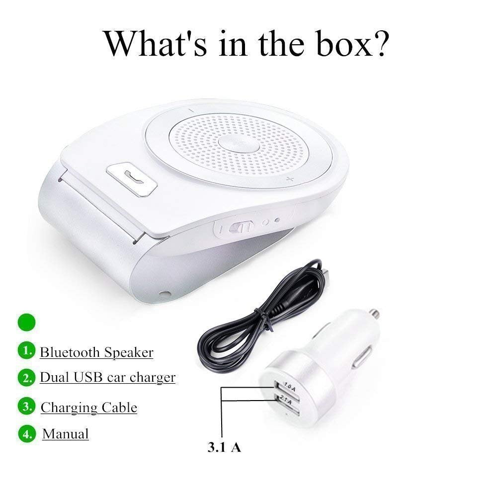 Bluetooth Speakers for Car Motion AUTO-ON, Wireless in-car Speakerphone,  Bluetooth 4 1 Hands-Free Visor Car Kit Stereo Music Receiver for Safely