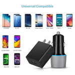 USB C Fast Charger Kit, Compatible Samsung Galaxy S9/S9 Plus/S10/S10+/S10e/S8/S8 Plus/Note 9/Note 8, Quick Charge 3.0 Charger Set, Dual USB Rapid Car Charger + Wall Charger with 2 Type C Cords 3.3ft