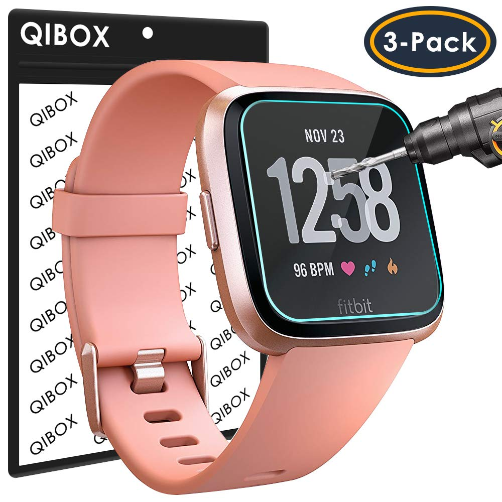 QIBOX Screen Protector Compatible Fitbit Versa & Versa Lite Edition, 3-Pack  Waterproof Tempered Glass Screen Protector Compatible Fitbit Versa Smart