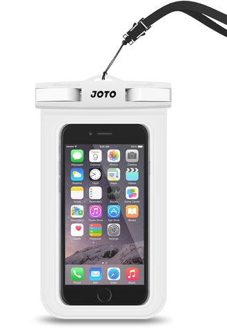 "JOTO Universal Waterproof Pouch Cellphone Dry Bag Case for iPhone XS Max XR XS X 8 7 6S Plus, Samsung Galaxy S9/S9 +/S8/S8 +/Note 8 6 5 4, Pixel 3 XL Pixel 3 2 HTC LG Sony MOTO up to 6.0"" –White"