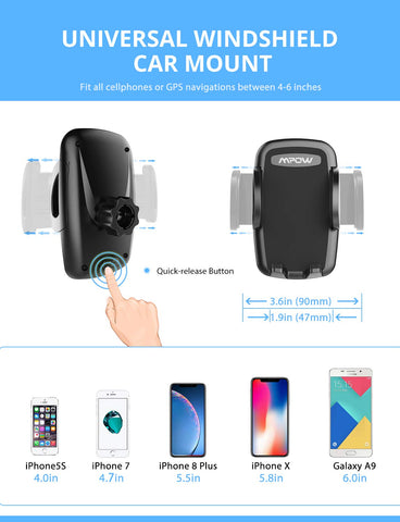 Long Arm Car Phone Mount Compatible iPhone Xs//XS MAX//XR//X//8//7 Plus LG Huawei and More 4885382051 Mpow 073AB Windshield Car Phone Mount Cell Phone Holder for Car Galaxy S5//S6//S7//S8//S9 Google