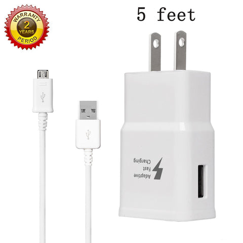 MBLAI Fast Charge Adaptive Fast Charger Kit for Samsung Galaxy S7/S7 Edge/S6/Note5/4 /S3,MBLAI USB 2.0 Fast Charging Kit True Digital Adaptive Fast Charging (Wall Charger + Micro USB Cable)