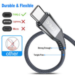 USB Type C Cable,Sweguard 3-Pack (3.3ft+6.6ft+10ft) USB A to USB-C Fast Charger Nylon Braided Cord for Samsung Galaxy S8 S9 S10 Plus Note 9 8,Google Pixel 2 3 XL,LG G7 V20 V30,Moto Z3 Z4 Z Z2(Grey)