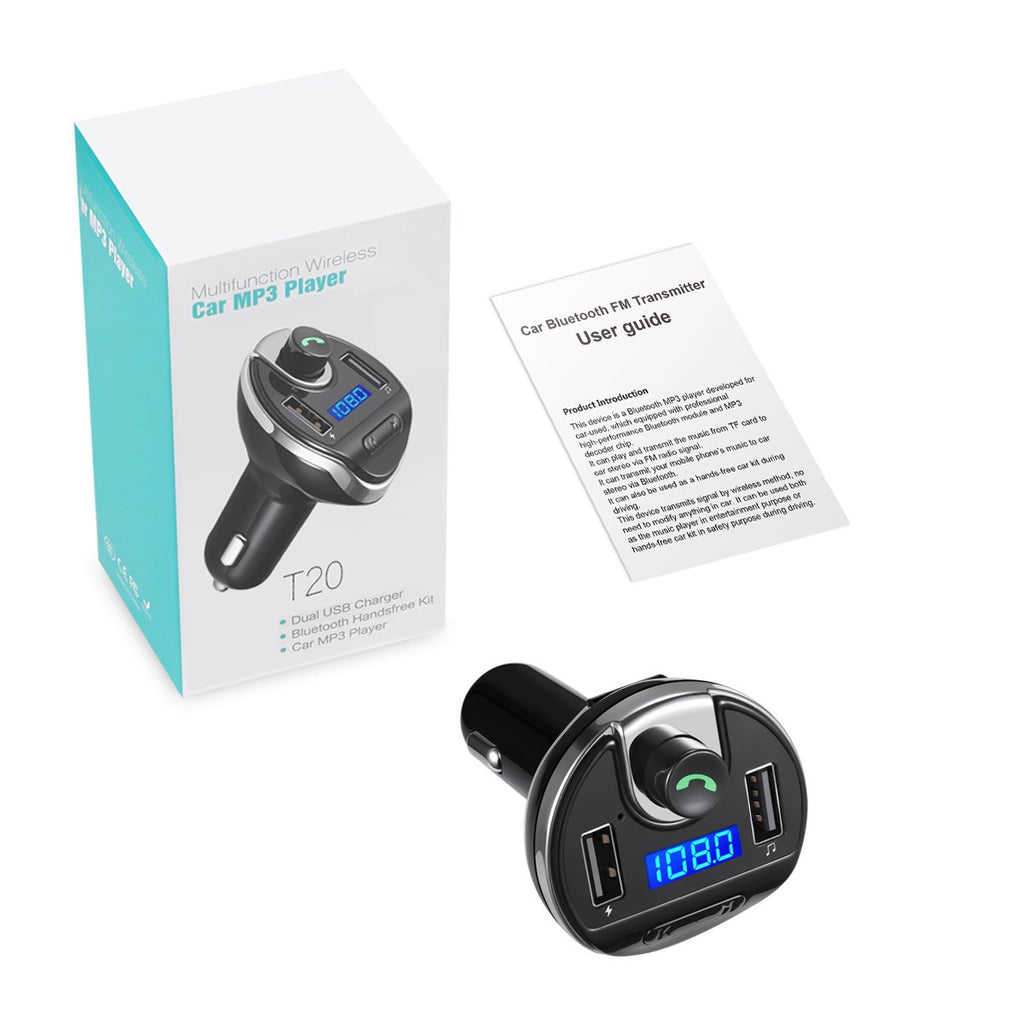 Wireless in-Car FM Transmitter Radio Adapter Car Kit Hands-Free Calling for Smartphones KeeKit Bluetooth FM Transmitter Universal Car Charger with Dual USB Charging Ports