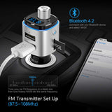 Nulaxy Bluetooth FM Transmitter for Car, 7 Color LED Backlit W QC3.0 Fast Car Charger Support Siri Google Assistant, USB Flash Drive, microSD Card, Wireless Handsfree Calling Car Kit - NX09