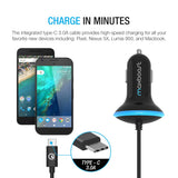 Type C Car Charger, Maxboost 36W Quick Charge 3.0 USB Port &Built-in USB C (3.1) Cable for Galaxy S10, S10+, S10e,S9,S9 Plus, Note 9 8, LG G7 G6, HTC, Nexux, MacBook, iPhone,OnePlus,Nintendo Swith