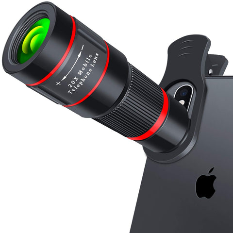 Cell Phone Lens, 20X Zoom Telephoto Lens, HD Phone Camera Lens for iPhone, Samsung, Android Smartphone, Monocular Telescope (Black)