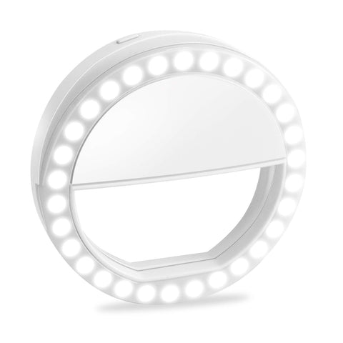 Selfie Ring Light, XINBAOHONG Rechargeable Portable Clip-on Selfie Fill Light with 36 LED for Smart Phone Photography, Camera Video, Girl Makes up (White-C, 36LED)