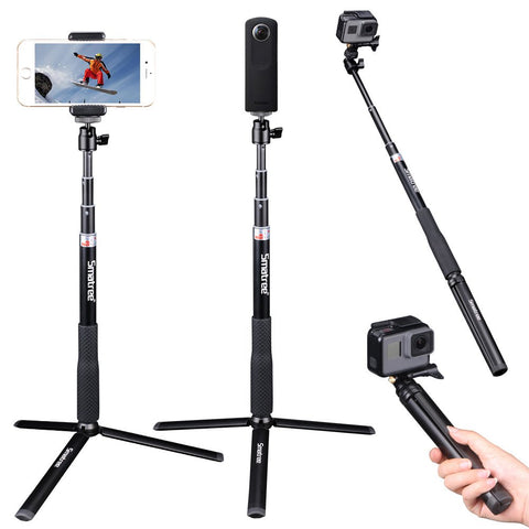 Smatree Telescoping Selfie Stick with Tripod Stand for GoPro Hero Fusion 7/6/5/4/3+/3/2/1/Session/GOPRO HERO (2018)/Cameras, Ricoh Theta S/V, M15 Cameras, Compact Cameras and Cell Phones