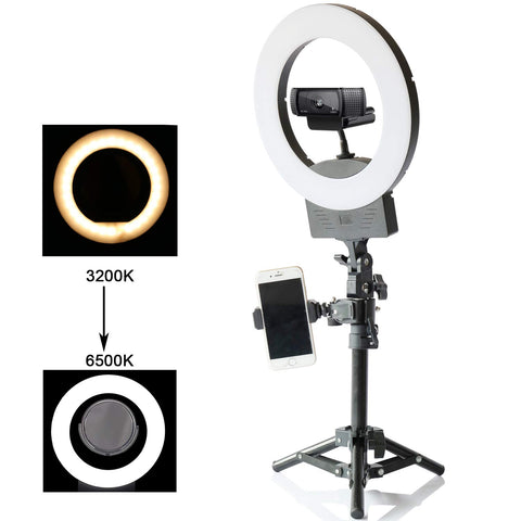 "ENTREGA: 10 A 15 DIAS 10"" Selfie Ring Light 3200K-6500K for Webcam YouTube Video and Makeup,Dimmable LED Camera Light with Adjustable Tripod Stand,Mirror Cell Phone Holder Desktop LED Lamp"