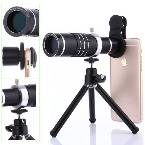 Camera Lens Kit,WMTGUBU 4 in 1 HD Universal Clip-On Phone 18X Optical Zoom Telephoto Lens+15X Macro Lens+0.6X Wide Angle Lens Tripod (Black)