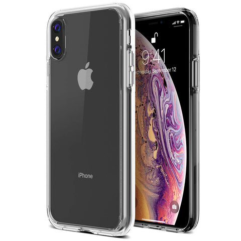 "Trianium Clarium Case Designed for Apple iPhone Xs MAX Case (2018 6.5"" Display ONLY) Reinforced Corner TPU Cushion and Hybrid Rigid Clear Back Plate Protection Covers [Enhanced Hand Grip] - Clear"