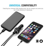 Gembonics iPhone Car Charger, [Apple MFI Certified] Lighting Car Charger for iPhone X, XR, XS, 8, 8 Plus, 7, 7 Plus 6S / 6S Plus, 6 Plus, SE, 5S, iPad Pro, Air 2, Mini 4 with Extra USB Port