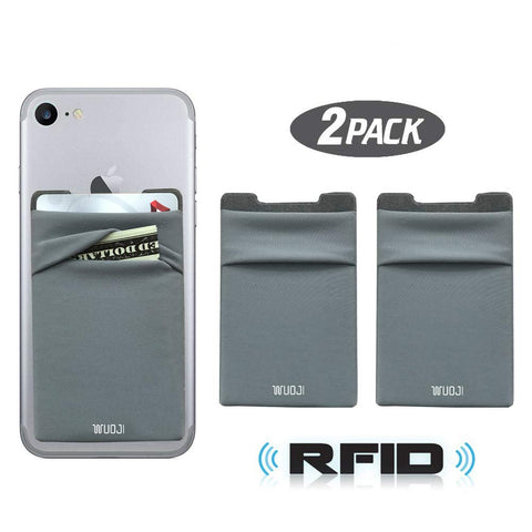 [2pc] RFID Blocking Phone Card Wallet - Double Secure Pocket - Ultra-Slim Self Adhesive Credit Card Holder Card Sleeves Phone Wallet Sticker for All Smartphones (Gray2)