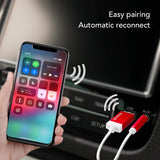 Tunai Firefly Bluetooth Receiver: World's Smallest Wireless Audio Bluetooth 4.2 Adapter with 3.5mm AUX for Car/Home Stereo Music Streaming; Auto On, No Charging Needed - Car Pack (Red)