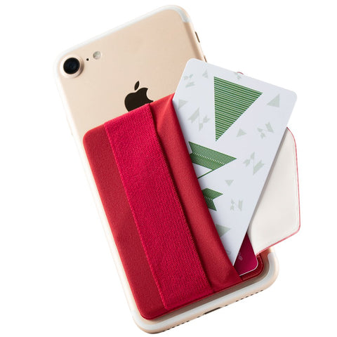 Sinjimoru Phone Grip Card Holder with Flap, Credit Card Stick-On Wallet Functioning as Phone Holder, Safety Finger Strap for iPhone and Android. Sinji Pouch B-Flap,Red.