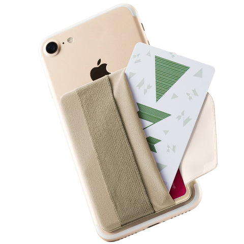 Sinjimoru Phone Grip Card Holder with Flap, Credit Card Stick-On Wallet Functioning as Phone Holder, Safety Finger Strap for iPhone and Android. Sinji Pouch B-Flap,Beige.