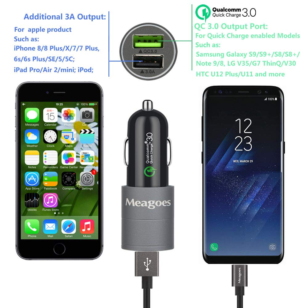 Fast Charging USB Car Adapter with 2 Type C Cables 4351660133 Quick Charge 3.0 Port Meagoes Rapid Car Charger LG V40 ThinQ//G7//V30//G6 Phones Galaxy S10 Plus//S10//S9 Plus//S9//S8+//S8 Compatible Samsung Note 9//8