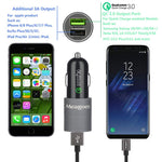 Meagoes Fast USB C Car Charger, Compatible Samsung Galaxy S10 Plus/S10/S10e/S9 Plus/S9/S8, Note 9/Note 8, LG V40 ThinQ/G7/V30 Phones, Quick Charge 3.0 Port Car Adapter with 2-Pack Rapid Type C Cords