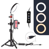 "6"" Selfie Ring Light with Tripod Stand for YouTube Video and Makeup,Nugilla Led Desktop Ring Light,Cell Phone Holder Desktop LED Lamp Mini LED Camera Light with 3 Light Modes & 11 Brightness Level."