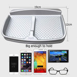 No Slip Car Dashboard Grip Pad,Anti Skid Rubber Automobile Visor Organizer Holder Tray Storage Stand for Sunglasses,Key Chain,Coins,Pens,Cell Phone,GPS Navigator(Silver)