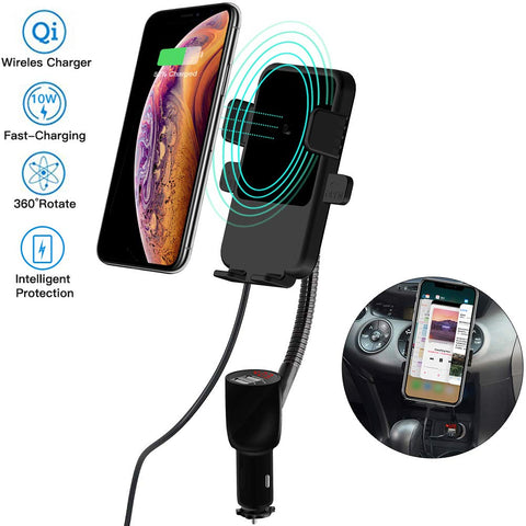Cigarette Lighter Car Mount,3-In-1 Wireless Charging&Car Phone Holder&Dual USB Charger,LED Display Voltage Current for Samsung Galaxy Note9 S9 S8 Plus,iPhone X/XR/XS Max/8 Plus QI-Enabled Phone[Black]