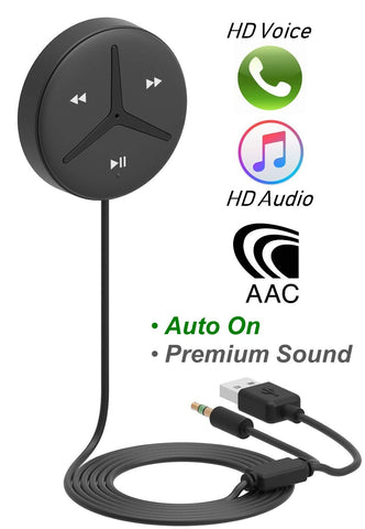 Aston SoundTek A1+,Excellent Sound,Support AAC Codec,Multi-Point, Auto On,Aux Bluetooth Car Kits,Bluetooth Receiver,Voice Assistant, Crystal Car Handsfree,Backlight Buttons,Music Stream for Car Audio