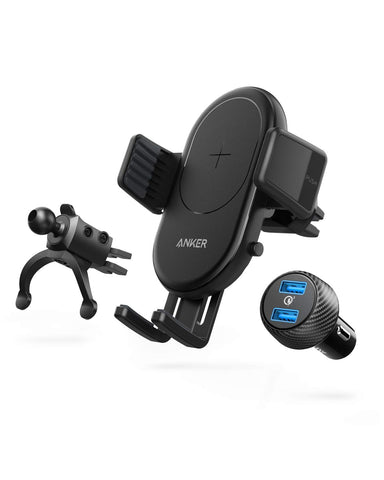 Anker PowerWave Fast Wireless Car Charger with Air Vent Phone Holder, Qi Certified, 7.5W Fast Charging iPhone Xs Max/XR/XS/X/8/8 Plus, 10W for Galaxy S9/S9+/S8/S8+, Quick Charge Car Charger Included