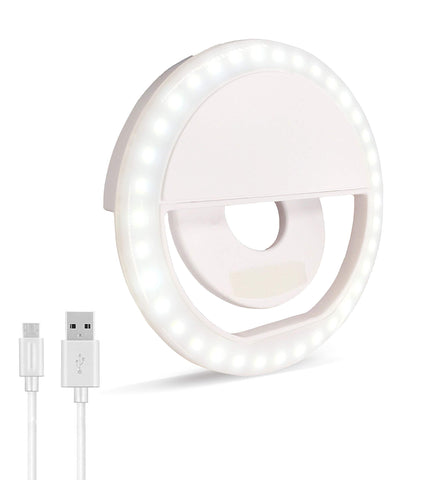 Selfie Ring Light, Oternal Rechargeable Portable Clip-on Selfie Fill Light with 36 LED for iPhone Android Smart Phone Photography, Camera Video, Girl Makes up (White 1)