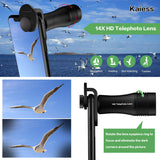 Phone Camera Lens,Kaiess 4 in 1 Cell Phone Lens Kit - 14X Zoom Telephoto Lens + 120° Super Wide Angle + Upgraded 20x Macro Lens + Fisheye Lens Compatible with iPhone X XS Max XR/8/7/6 Samsung Andriod