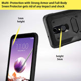 LG Stylo 4 Case/Stylo 4 Plus with Shockproof [Built-in Screen Protector] Full-Body Heavy duty PC back & Soft TPU Inner Armor Swivel Belt Clip Combo Holster Heavy Duty protective Case[Kickstand](Black)