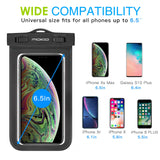MoKo Waterproof Phone Pouch, Underwater Waterproof CellPhone Case Dry Bag with Lanyard Armband Compatible with iPhone X/Xs/Xr/Xs Max, 8/7/6s Plus, Samsung Galaxy S10/S9/S8 Plus, S10 e, S7 edge, Black