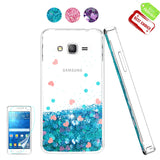 Galaxy Grand Prime Glitter Case, J2 Prime Phone Cases with HD Screen Protector for Girl Woman, Atump Liquid Clear TPU Bumper Back Protective Phone Cases for Samsung Galaxy J2 Prime G530 Blue