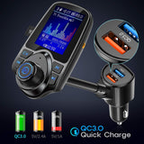 "Nulaxy KM18 [Upgraded Version] Car Bluetooth FM Transmitter, 1.8"" Color Screen Wireless Radio Adapter with QC3.0 & 5V/2.4A Charging, Handsfree Call, Support TF Card, Aux Play, EQ Modes"
