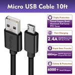 Micro USB Cable,[10Ft 2Pack] Extra Long Fast Charger Cord for Galaxy S7 Edge,High Speed Durable USB Charging Cable for Android Phone,Samsung J7/S6 Edge/S5/S4/Note 5/4,LG Stylo 3/K30,PS4,Camera,Black