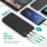 Portable Charger 32000 RAVPower 32000mAh Battery Pack 6A Output, USB Power Banks for iPhone Xs, iPhone X, Galaxy and More (3-Port, 2.4A Input, Triple iSmart 2.0 USB)