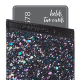 Case-Mate - Stick On Credit Card Wallet - POCKETS - Ultra-slim Card Holder - Universal fit - Apple – iPhone – Samsung – Galaxy - and more –  Black Iridescent Glitter