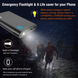 Jackery Portable Charger Giant+ 12000mAh Dual USB Output Battery Pack Travel Backup Power Bank with Emergency LED Flashlight for iPhone, Samsung and Other Smart Devices - Black