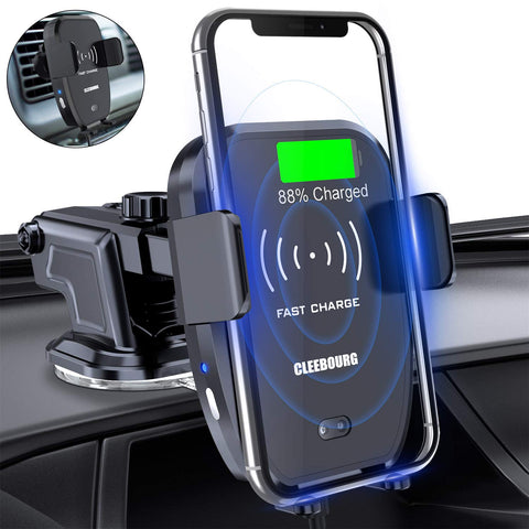 Qi Wireless Car Charger Mount, CLEEBOURG 7.5W/10W Fast Charging Automatic Clamping Car Phone Holder Air Vent Dashboard, Compatible iPhone Xs/Xs Max/XR/X/ 8/8 Plus, Samsung S10 /S10+/S9 /S9+/S8 /S8+