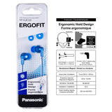 Panasonic ErgoFit in-Ear Earbud Headphones RP-HJE120-AA (Metallic Blue) Dynamic Crystal-Clear Sound, Ergonomic Comfort-Fit