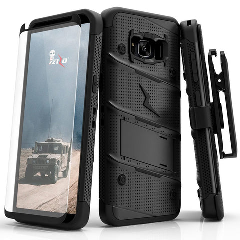 Zizo Bolt Series Compatible with Samsung Galaxy S8 Case Military Grade Drop Tested with Tempered Glass Screen Protector, Holster Black