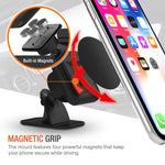 Trianium Magnetic Car Phone Mount for iPhone Xs Max XR X 8 7 6s 6 Plus,Galaxy S10 S10+ S10e S9 S8 Edge Note 9,LG G7 ThinQ,Pixel 3 XL[Stick On Dashboard Holder w/3M Adhesive/Bendable Base/Metal Plate]