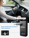 Mpow BH129 Bluetooth Receiver for Car Hands-Free Calls, Better Music Quality with CSR Chip,15 Hours Long Playing Time Bluetooth Adapter,1 Second Turn On/Off Button Car Kits,Dual Link,Voice Assistant