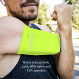 Phone Armband Sleeve: Running & Jogging High Visibility Cellphone Holder in Fluorescent Yellow Vis, Be Seen at Night. Reflective Gear & Safety Accessories for Women, Men & Kids Fits All Phones (MED)