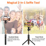 Selfie Stick Tripod, Matone Bluetooth Selfie Stick with Tripod Stand and Detachable Remote, Extendable Monopod for iPhone X/XS Max/XR/8 Plus/7/6S Plus, Galaxy S10/S10 Plus/S10e, GoPro & Action Cameras