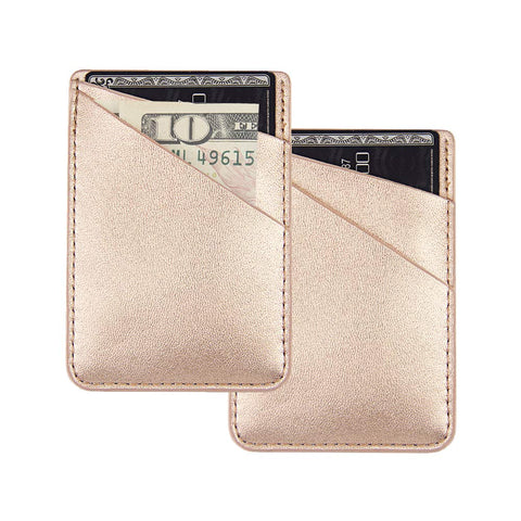 "uCOLOR Two Pack Phone Card Holder PU Leather Rose Gold Wallet Pocket Credit Card ID Case Pouch 3M Adhesive Sticker on Phone Samsung Galaxy Android Smartphones(fit for 4.7"" Phone or Above)"