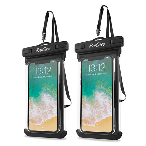 "ProCase Universal Waterproof Case Cellphone Dry Bag Pouch for iPhone Xs Max XR XS X 8 7 6S Plus, Galaxy S10 Plus S10 S10e S9 S8 +/Note 9, Pixel 3 XL HTC LG Sony Moto up to 6.5"" -2 Pack, Black"