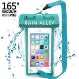"[Vacuum Design] RAIN ALLEY Universal Waterproof Case, Swimming Snorkeling, IPX8 Waterproof Phone Pouch Dry Bag for iPhone X/XS/XR/XS MAX/8/7/6/6s Plus Samsung Galaxy S9/S8 Huawei up to 6.0"" – Blue"